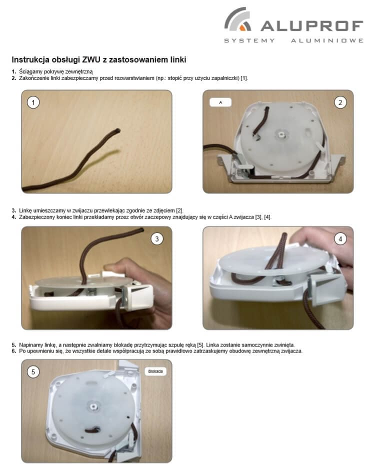Instrukcja obsługi zwijacza na linke ZWU