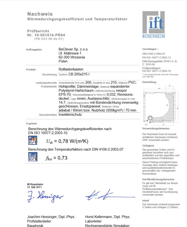 BeClever_CleverBox- thermal_insulation_certificate CB_205x215_I