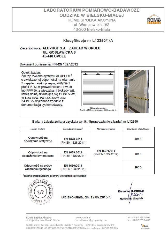 Swiadectwo RC3 dla SAR-6