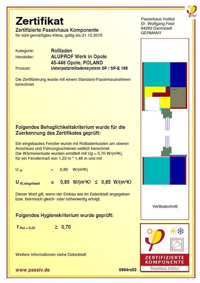 Passivhaus Zertifikat fur SP_SP-E 165